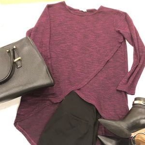 Burgundy Hi-Lo sweater with cross over